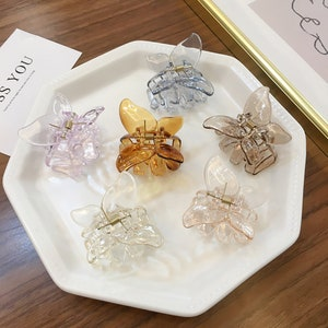 6 transparent hair pins made in France 8.8cm