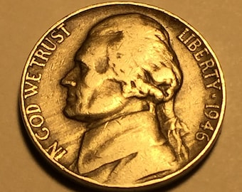 1946 var./ ms/ddo/in/god/we/trust/liberty/1946/no/mint/mark/ddr/e-plu/monticello/five/cents/us/of/amer/ JEFFERSON NICKEL