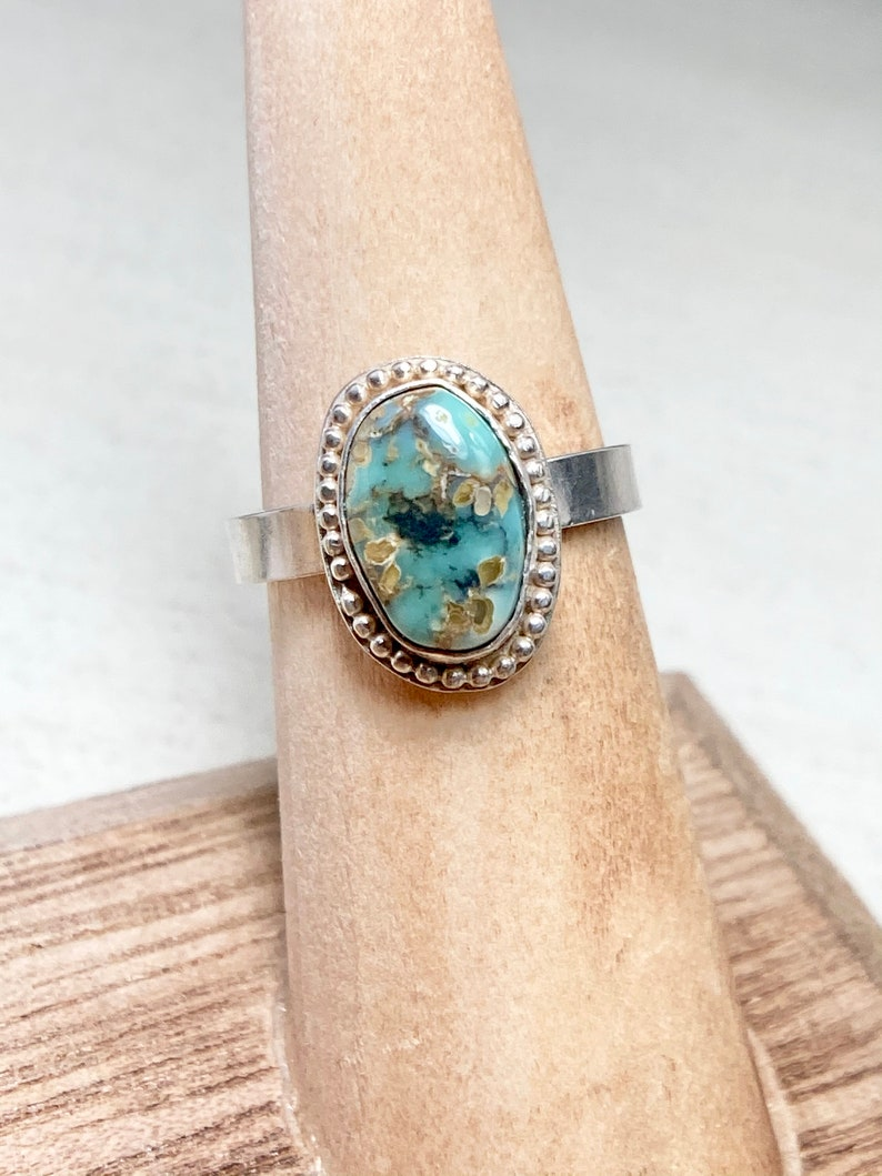 Gemstone Jewelry Turquoise Jewelry Turquoise Ring Rare Seven Dwarfs Turquoise One of a Kind Handmade Sterling Silver Ring