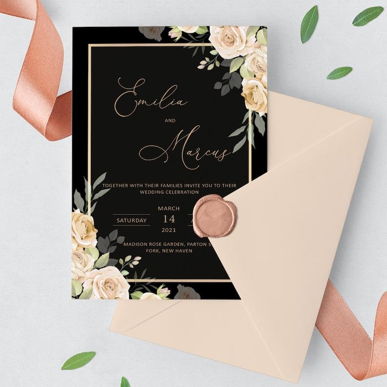 Floral wedding invitations Custom Wedding invitation instant download template Wedding invitation custom editing Wedding invites template