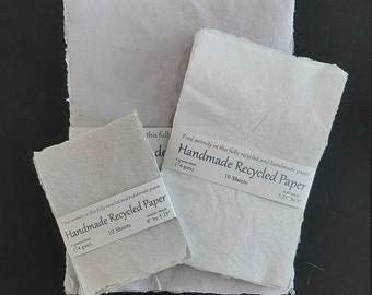 Handmade Recycled Paper (10 Sheets), Eco Friendly Paper, Sustainable Stationery
