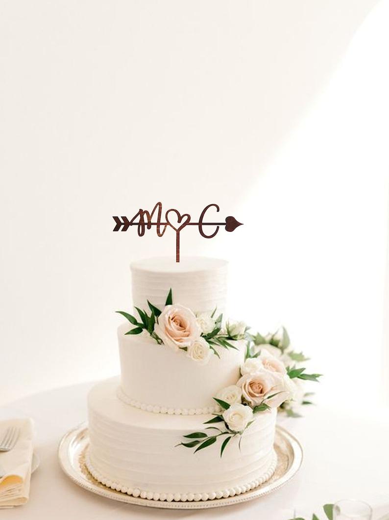 M Cake topper Wedding Letter C Arrow rustic cake topper Cake toppers for wedding Wood Initials cake topper gold Wood letter M cake topper C