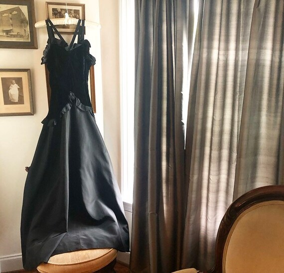 1930s Silk Velvet and Taffeta Evening Gown