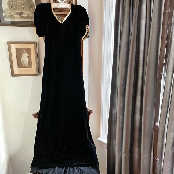 1930s Silk Velvet Evening Dress