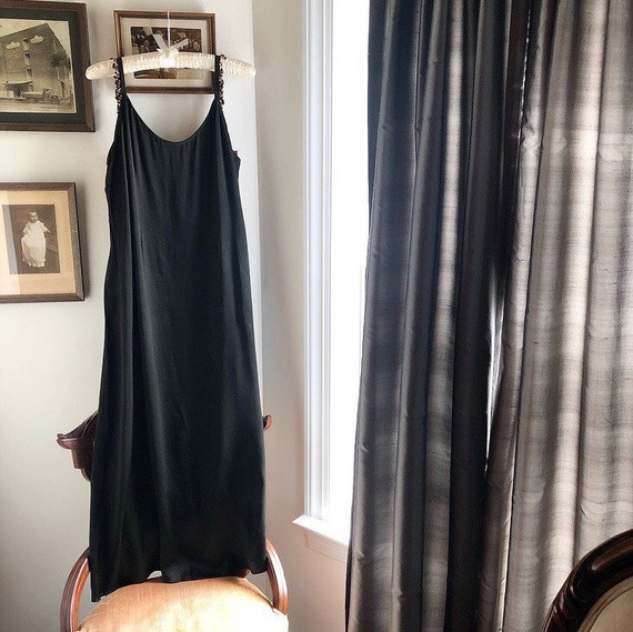 1930s Black Silk Slip Dress