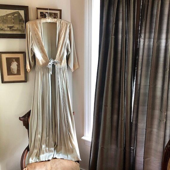 1940s Powder Blue Silk Blend Dressing Gown