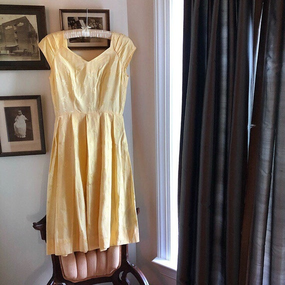 1950s Canary Yellow Day Dress