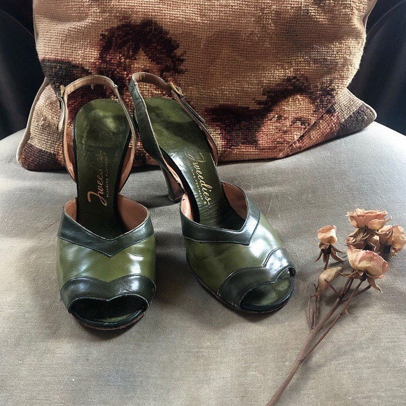Absinthe Green 1940s Leather Heels