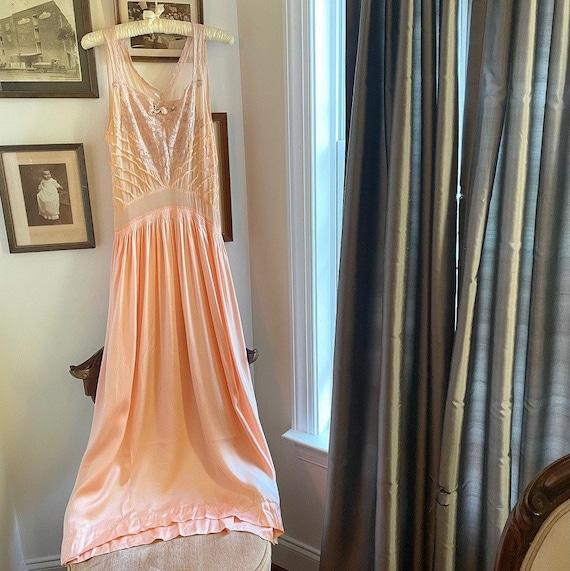 1950s Peach Silk Nightgown
