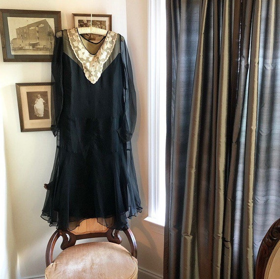 1920s Silk Chiffon Dress