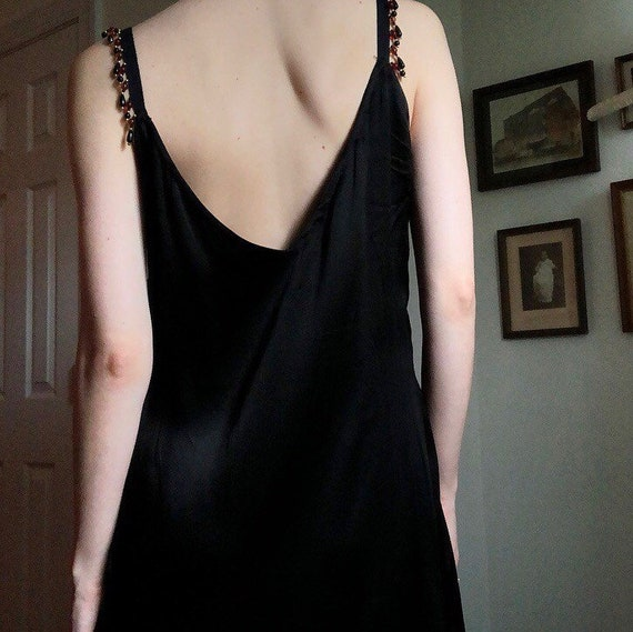 1930s Black Silk Slip Dress - image 4