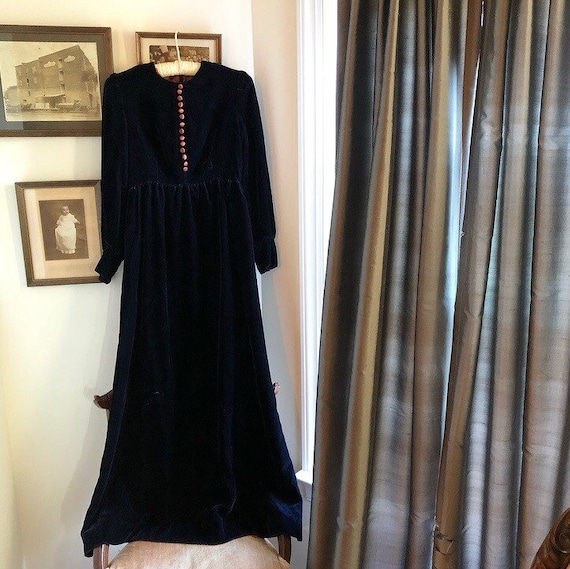 1970s Navy Blue Velvet Maxi Dress