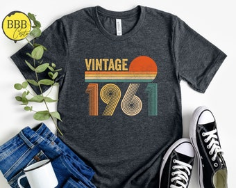 Vintage 1961 Retro Shirt, 60th Birthday, 60th Birthday Gift, 60th Birthday Party, 60th Birthday Shirt, 1961 T-Shirt