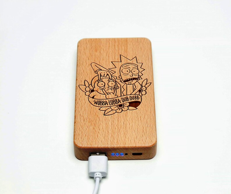 portable charger Power Bank Wooden Iphone charger Rick and Morty 6000 mAh laser engraved personalized power bank usb power bank