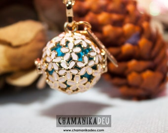 Rose gold plated spring with turquoise