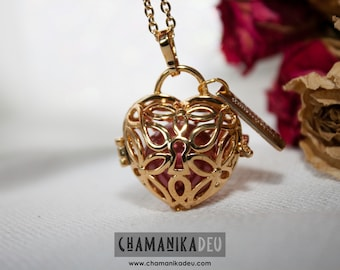 Angel caller, secret of the heart, gold plated with a beautiful 17MM metallic cherry harmony ball