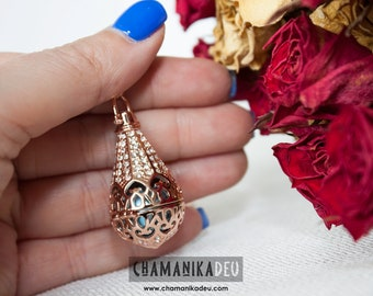 Angel caller magic lamp laminated rose gold with metallic turquoise harmonic ball 17 MM