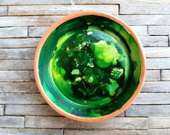 "3.2"" Terra Cotta Ring Trinket Dish  - Green Marble"