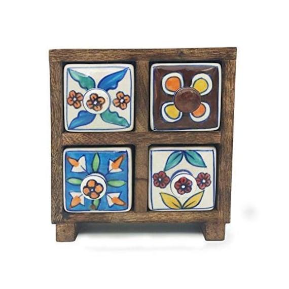 Keepsake box pill box Multipurpose Box small chest of 2 drawers Antique Wooden Burn Wax box ring box coin key box ceramic drawers
