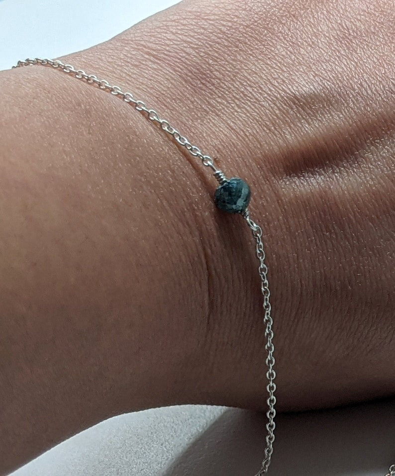 925 Sterling Silver Chain Bracelet with Diamond Ball Diamond Chain Bracelet PPD877 4mm Blue Faceted Diamond Ball Blue Diamond Bead