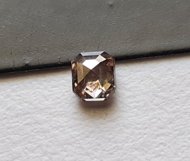 PPD946 3.5x4.1mm Pink Champagne Emerald Cut Diamond Clear Pink Emerald Shaped Faceted Rose Cut Diamond Loose Emerald Cut for Diamond Ring