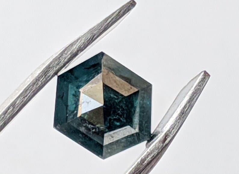 Blue Hexagon Diamond Ring-PPD625 Hexagon Cut Blue Diamond 1.40 Cts Fancy Hexagon Rose Cut Diamond Flat Back Diamond 5.5x5.9mm Blue Diamond