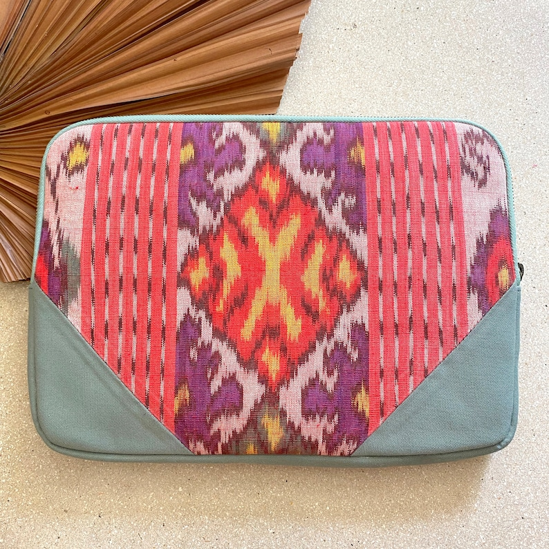 Turquoise Canvas Vegan Laptop Case with the FIRE element woven Ikat Tapestry