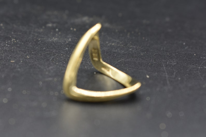 vintage 9ct gold on sterling silver wishbone ring