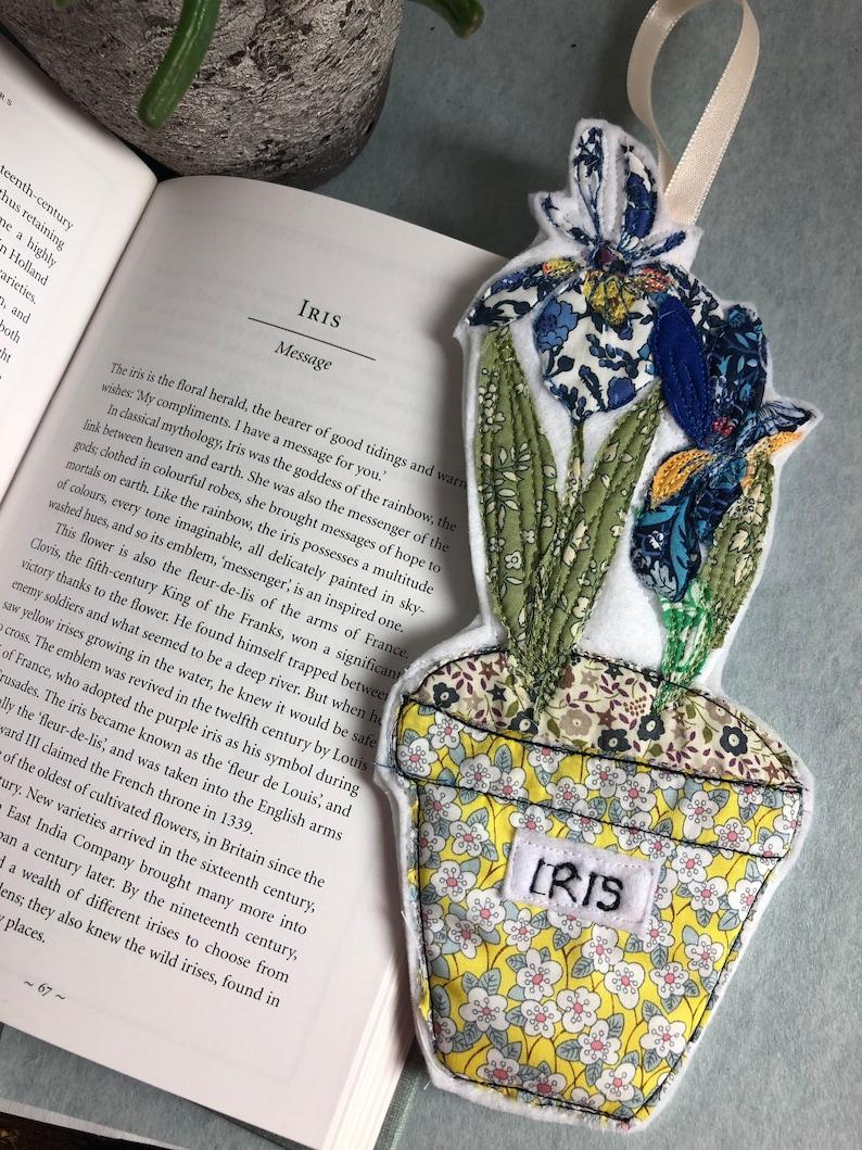Liberty print flower decoration pair of Iris in pot