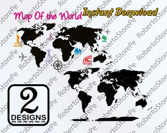 Z1712 Wall Vinyl Sticker Bedroom Decal World Map Country Words Quotes