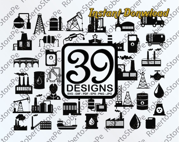 Vector Industrial Icons Svg Industrial Icons Svg Silhouette Etsy
