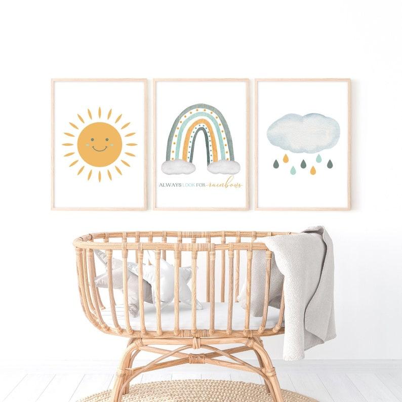 Baby Shower Gift Baby Boy Kids Room PRINTABLE Sun Rainbow /& Cloud Always Look for Rainbows Set of 3 Watercolor Art Nursery Wall Decor
