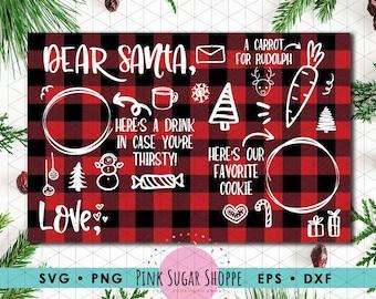 Dear Santa SVG -  Cookies and Milk -  Santa Tray SVG - Santa Placemat - Holiday svg - Christmas SVG - Santa svg - Christmas Tray - V2