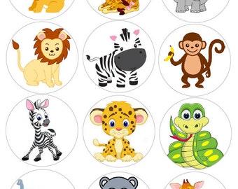 Pre Cut Edible Stickers Jungle Safari Faces Edible PRE CUT Stickers Jungle Animals Edible Sticker Cake Decoration Decal Transfers Safari