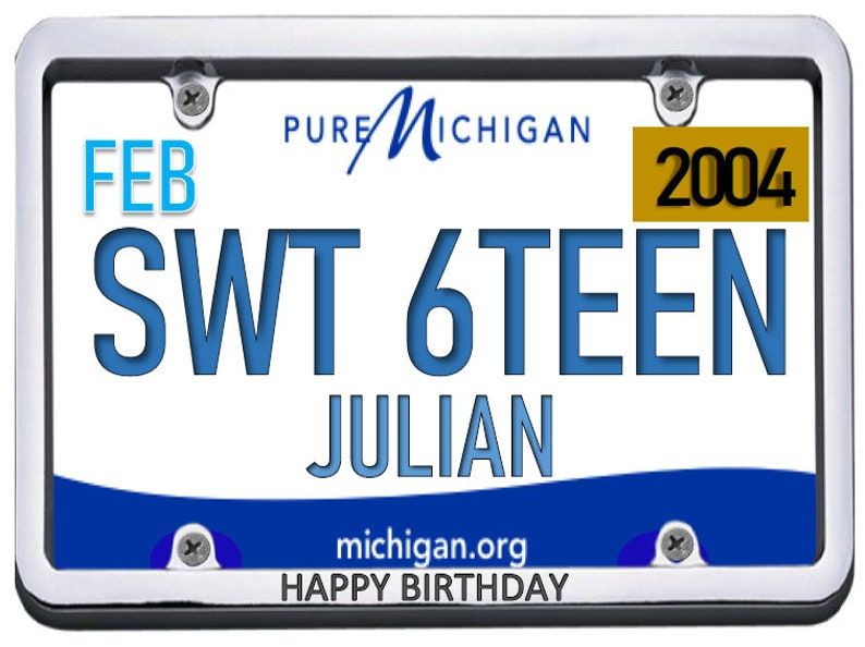 ICING SHEET Custom topper picture 16th Birthday Party,Edible images,14 8x10.5 Sweet Sixteen license plates birthday edible cake toppers