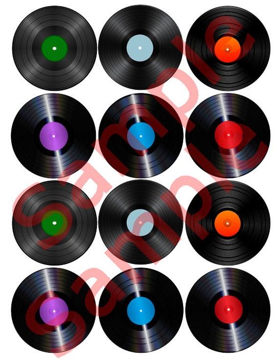 Cookie Edible Vinyl Record Cupcake Oreo Toppers Music Party Cake Decorations