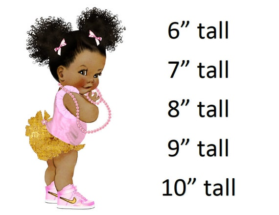 Ruffle Pants Curly Puffs Orange Sneakers Gold Crown Pearls African American Girl  baby shower Icing Sheet cake decoration Cupcake Toppers