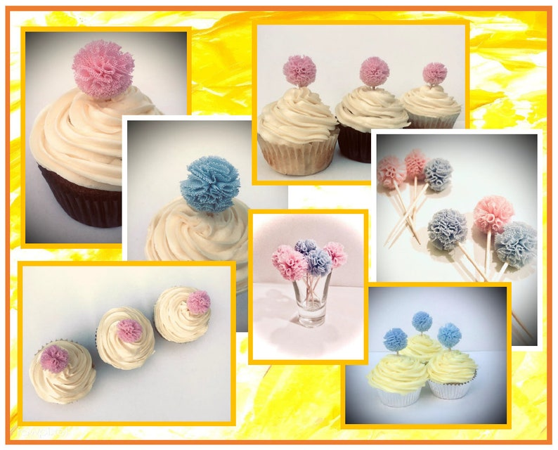 choose your color Blue or Pink 5 Gauze pom poms Party Decoration Cupcake Toppers