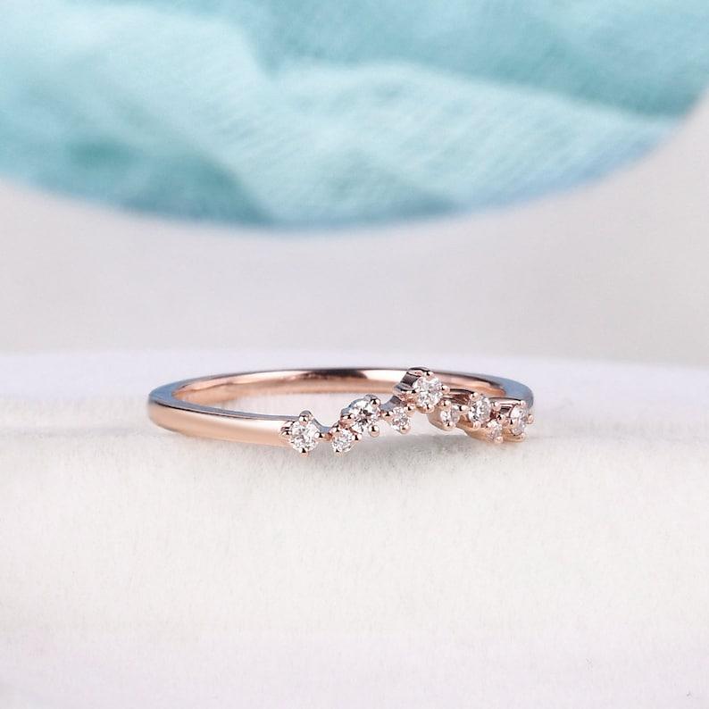 Curved Wedding Band Rose Gold Diamond Wedding Band Woman Pave Half Eternity Ring Chevron Delicate Matching Stacking Band Bridal Wedding Ring