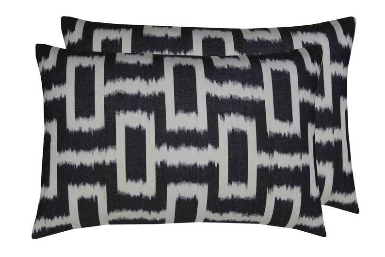 ikat Pillow Cushion Cover Labyrinth White Black 16x24 Electic Decor Ikat Pillow Case Cotton ikat Zippered Bohemian Lumbar ikat 40x60 cm