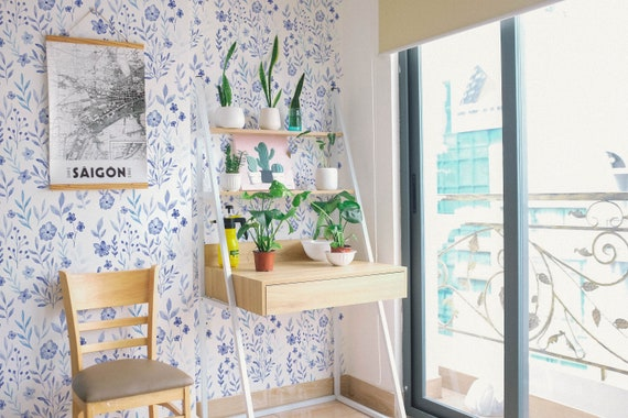 Botanical Self Adhesive Wallpaper Blue And White Floral Peel Etsy
