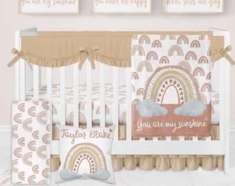 You Are My Sunshine Rainbow Nursery, Rainbow Crib Bedding Set, Neutral Crib Bedding Set, Rainbow Nursery, Baby Boy Bedding Baby Girl Bedding