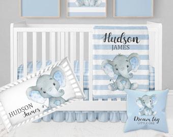 Elephant Baby Bedding Set, Baby Boy Crib Bedding, Blue Crib Bedding, Elephant Crib Bedding, Elephant Nursery, Boy Elephant Nursery Bedding