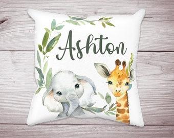 Personalized Child/'s Name Giraffe Face Jungle Animal Little Kids Standard Pillow Case