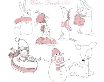 Doodle Winter Set Embroidery File (Embroidery)