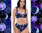 Stars and Moon Bikini, Gothic Swimwear, Witchy Two-Piece Swim Suit - Recycled Fabric, UPF50