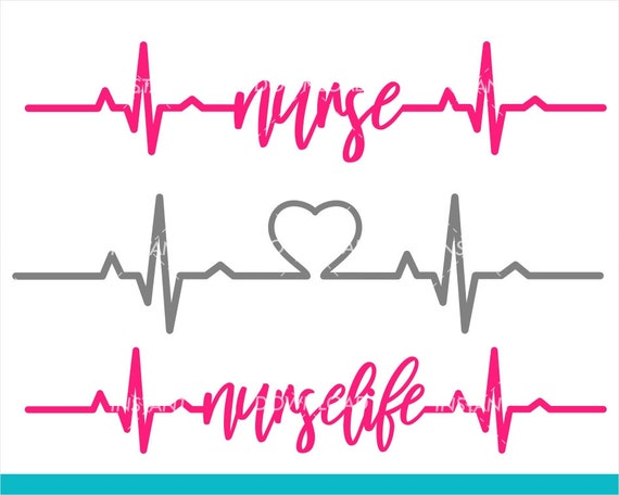 Nurse Svg Heartbeat Svg Rn Svg Files Nurselife Svg Files Etsy