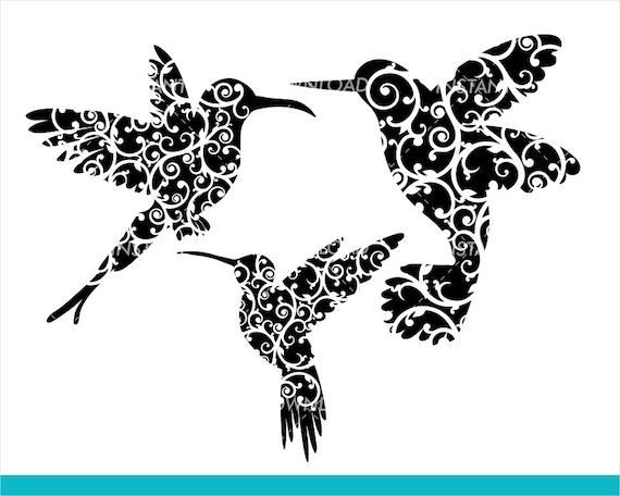 Fancy Floral Flourish Hummingbirds Svg File Fairy Garden Svg Etsy
