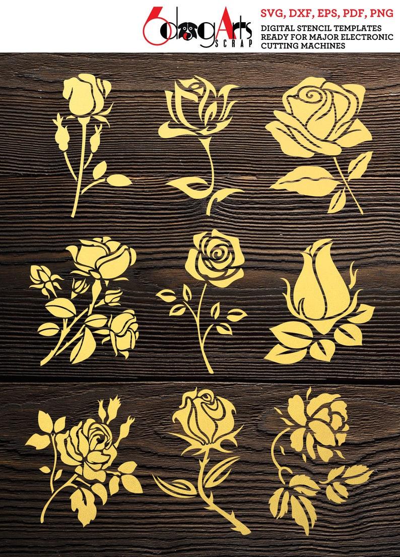 9 Rose Flower Digital Stencil Templates SVG DXF eps pdf png files Mylar Film Cutting Wall Tile Scrapbooking Laser Cricut Download JB-1506