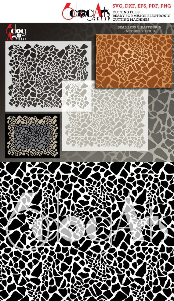 Seamless Giraffe Print Digital Pattern Stencil Vector Cut Etsy